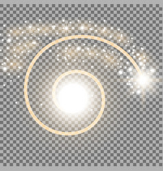 Spiral with particle dust golden color vector