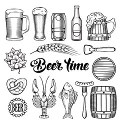 Beer and snack set vector image vector image