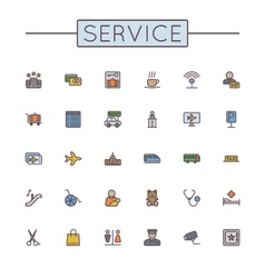 Colored Service Line Icons vector image vector image