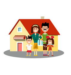 house icon with happy family vector image vector image