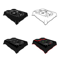 a bed with a black coverletbed with a black cat vector image vector image