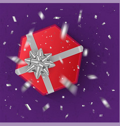 a realistic red gift box decorated with a silver vector image vector image