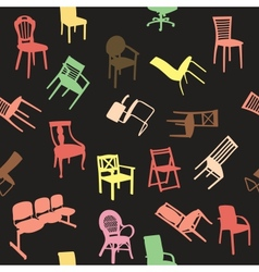 Big set of home chair silhouettes seamless pattern vector image vector image