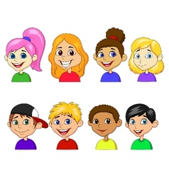 Boy and girl cartoon collection set vector image