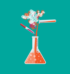 Chemical reaction in glass tube vector