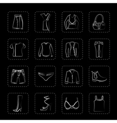 Clothing and Dress Icons vector image