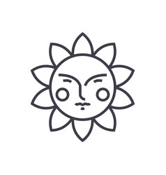 cute sun line icon sign on vector image
