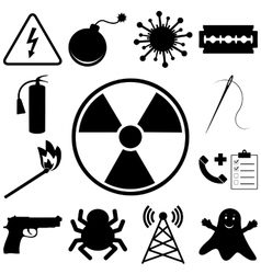 Dangerous and icons set Flat style vector image