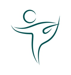 Emblem yoga pose isolated on white vector