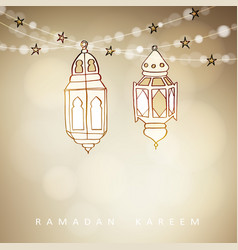 hand drawn illuminated arabic lamps lanterns with vector image
