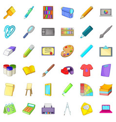 palette icons set cartoon style vector image vector image
