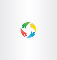 people circle teamwork logo icon element colorful vector image vector image