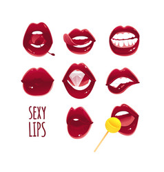 set collection of sexy pop art red female lips vector image vector image