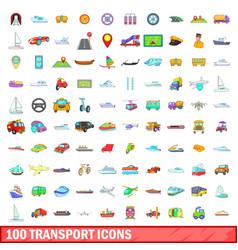 100 transport icons set cartoon style vector image