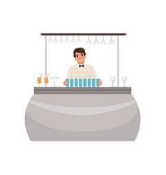 Cheerful bartender at the bar counter barman vector