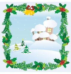 Christmas Landscape Winter Snow Houses Roofs vector image