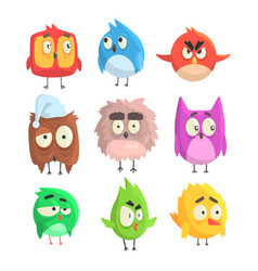 Little cute bird chicks set of cartoon characters vector