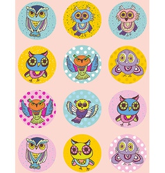 Set of funny owl sketch doodle Seamless pattern on vector image vector image