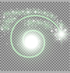 spiral with particle dust green color vector image vector image