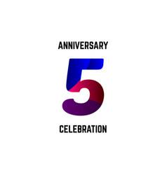 5 year anniversary celebration logo template vector