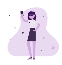 a woman holding smartphone vector image
