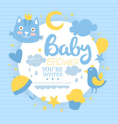 Baboy shower card light blue invitation vector