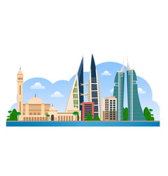 Bahrain manama skyline with colorful buildings vector