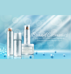 Banner with bottles for cosmetic products vector