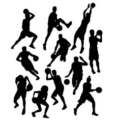 Basketball sport activity silhouettes vector