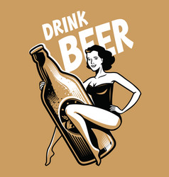 beer and girl retro poster vintage vector image