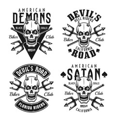 biker club emblems with horned skull vector image