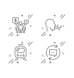 Breathing exercise teamwork and train icons set vector