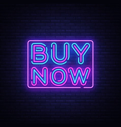 Buy now neon text design template buy now vector