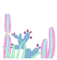 cactus set creative card vector image