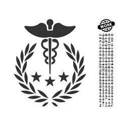 Caduceus logo icon with job bonus vector