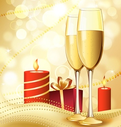 Candle and champagne vector image