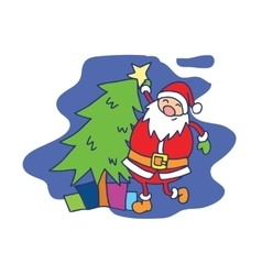 Character Santa Claus with spruce and gift vector