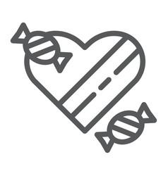 chocolates line icon valentines and romantic vector image