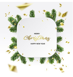 Christmas frame branches and gold foil vector