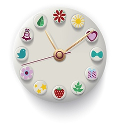 Clock Hand Made with colorful button vector image