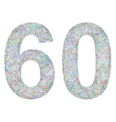 Colorful sketch anniversary design - number 60 vector