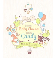 Cute baby shower invitation for boy or girl party vector image