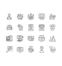 data management line icons signs set vector image