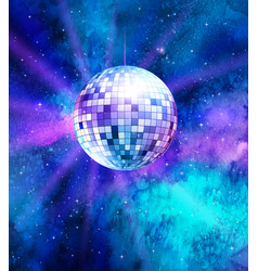 Disco ball on space background vector