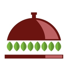 dish tray with leaves icon vector image