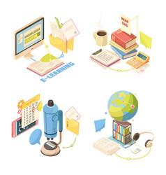 E-learning isometric design concept vector
