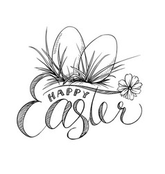 easter lettering and two eggs with grass camomile vector image