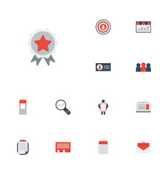 Flat icons journal market message and other vector