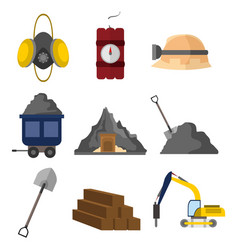 flat style equipment mining graphic set vector image