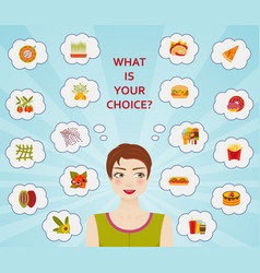 Food culture healthy and unhealthy diets vector